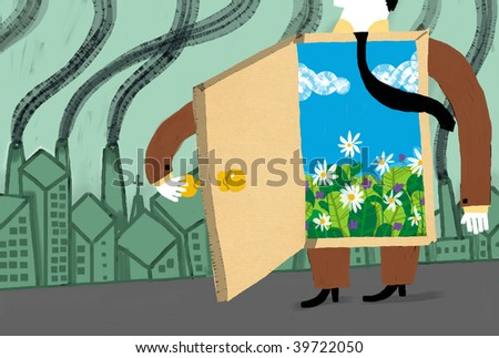 Man in te contaminated city with a door to the outdoors