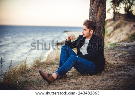 man in the forest, nature and man, pine, loneliness