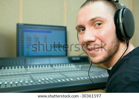 man in the music recording studio