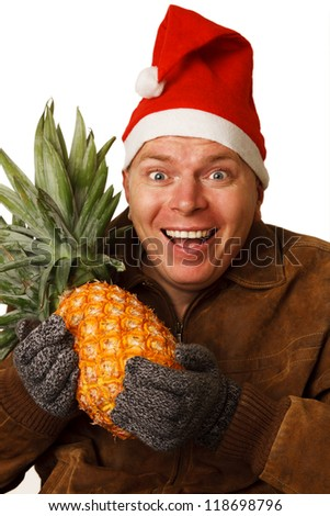 Man in the New Year's Eve wants to get a taste of summer sun and pineapple