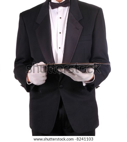 Man in Tuxedo Holding Serving Tray isolated over white