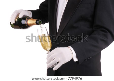 Man in Tuxedo Pouring Champagne isolated over white