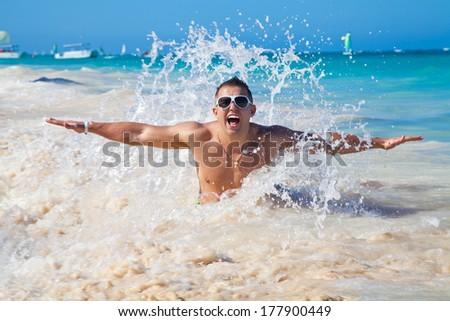 man in water of tropical sea