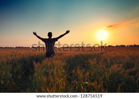 man in wheat field at sunset time