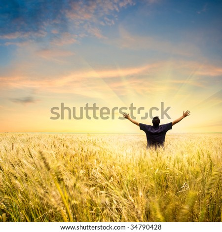 man in wheat field joying sunset
