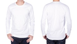 man in white long sleeve t-shirt isolated on a white background