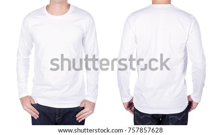 man in white long sleeve t-shirt isolated on a white background #757857628