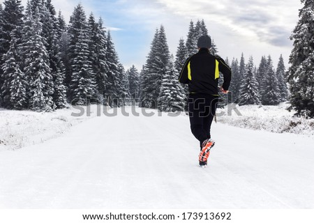 Man in Winter Jogging