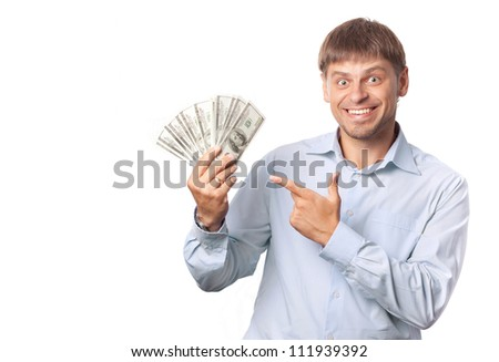 Man indicate to money. White background.Space