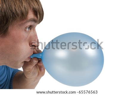 man inflating blue balloon isolated on white