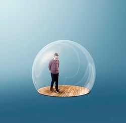 Man inside a 3d bubble shield protection . Stay at home concept . Self isolation during quarantine .
