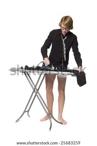 Man ironing his pants