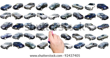Man is choosing car from many different variants