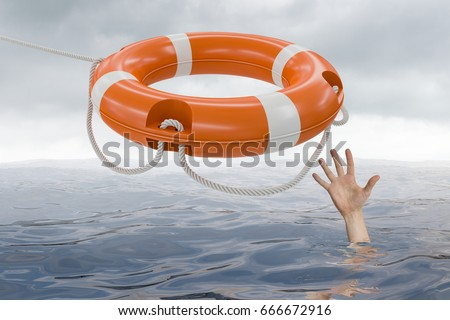 Man is drowning in ocean and is catching life buoy. 3D rendered illustration of life buoy.