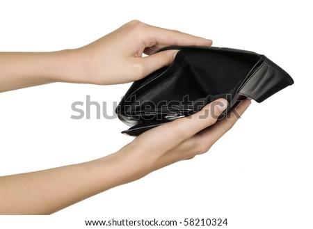 Man is holding empty black wallet in his hands