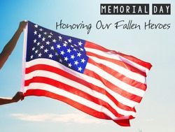 man is holding waving american USA flag. memorial day card