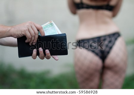 Man is paying for sex in euro banknotes