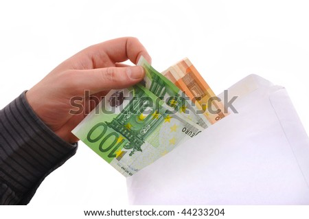 Man is paying with euro banknotes, financial background