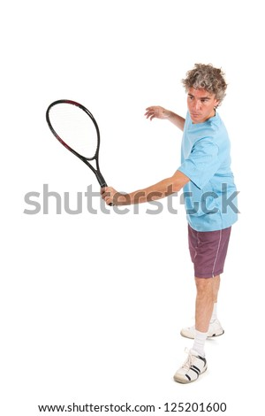 Man is playing tennis