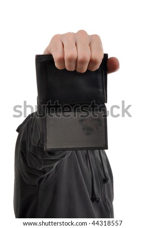 Man is showing a wallet with the badge - stock photo
