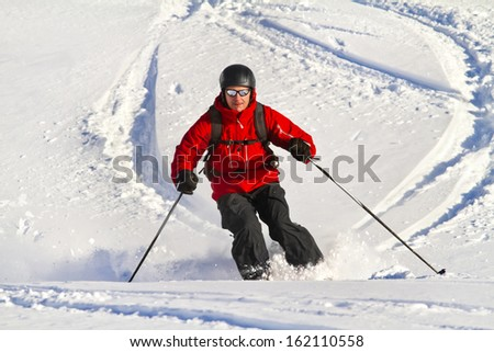 Man  is skiing back country