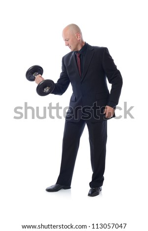 Man is suit lifting a weight concept of strength and power
