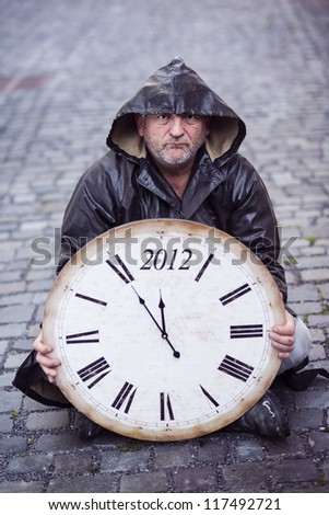 Man is waiting for end of the world.