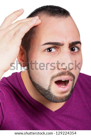 Man is worried about hair lossMan gets hair loss
