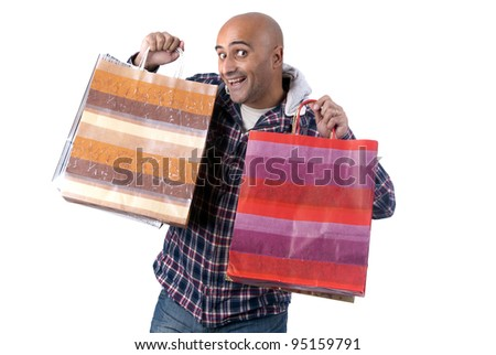 man isolated in white with shopping bags