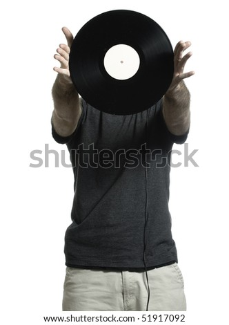 Man isolated on a white background is showing off an old lp record.