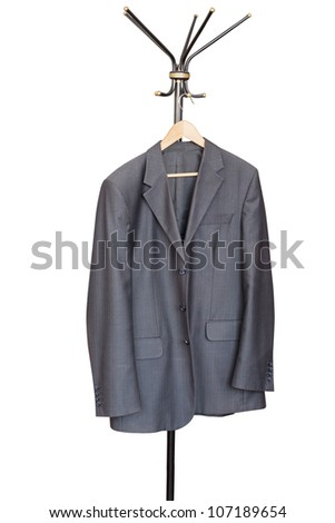 Man jacket hangs on a coat rack