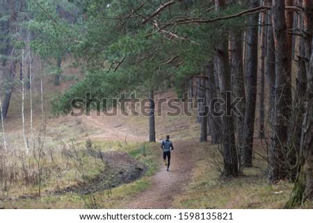 man jogging in a pine grove