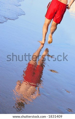 Man jogging with reflection