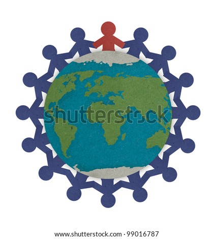 Man joining together highlight with red on the center empowering the people to protect and save the world, Save the world for future