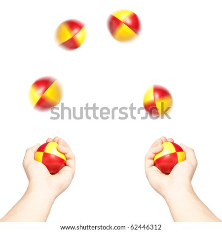 Man juggling six colorful balls, isolated on white