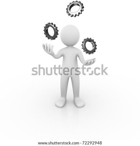 Man juggling with gears