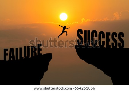 Man jump across text failure to success over cliff on sunset background
