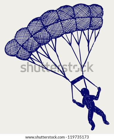 Man jumping with parachute. Doodle style. Raster version