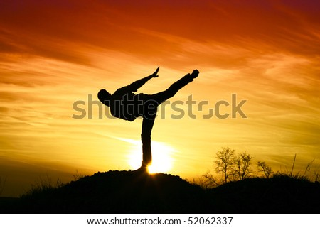 Man karate in the sunset.