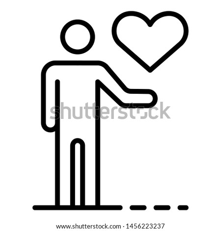 Man keep heart icon. Outline man keep heart icon for web design isolated on white background