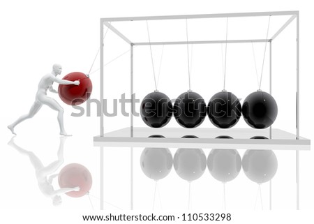 Man launching a red ball to group of spheres