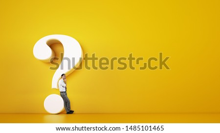 Man leaning on a big white question mark on a yellow background. 3D Rendering Сток-фото ©