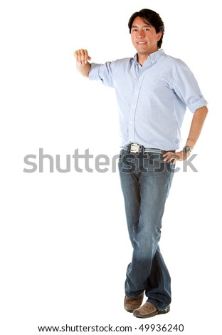 Man leaning on an imaginary object isolated over a white background