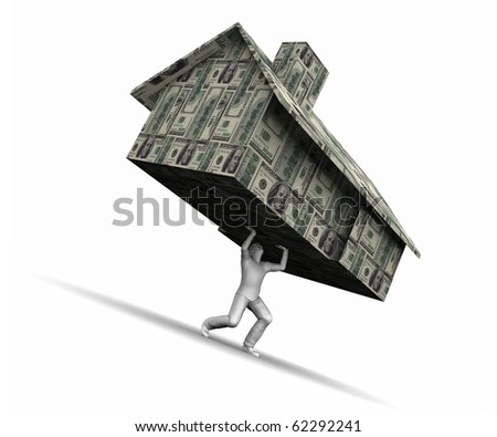 Man lifting house made of $100 dollar bills.