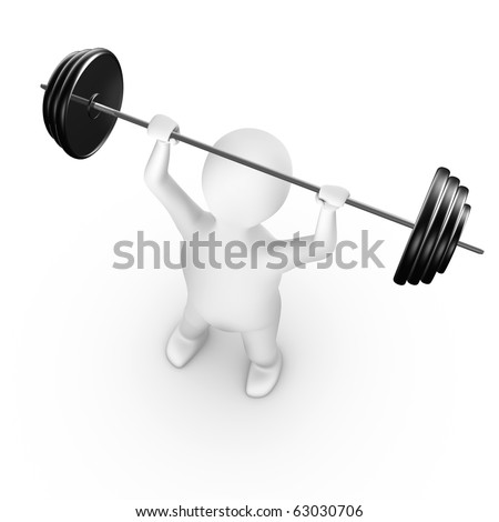 Man lifting weight, 3d render, isolated on white