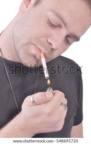 Man lighting up his cigarette #548695720  sc 1 st  Avopix.com & Free Portrait of a handsome man lighting his cigarette Photos ... azcodes.com