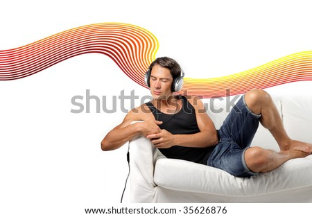 man listening music on a sofa with sound wave on the background