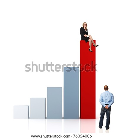 man look woman sit on 3d graph business chart
