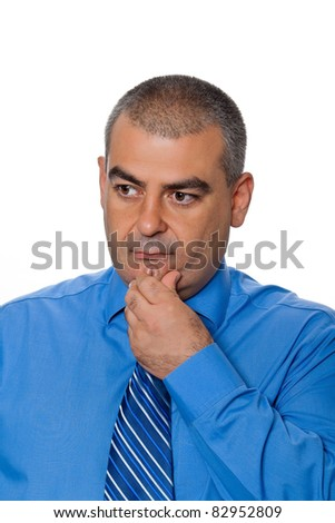 Man looked intently touching his hand to his chin isolated on a white background