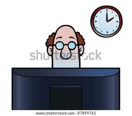 Man looking at a computer screen, with a clock in the background.